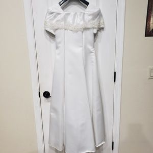 Other - White Satin w/ Lace Applique Formal Dress